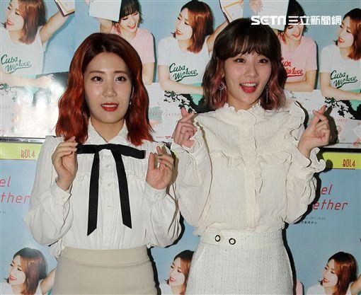 韓國當紅雙人女子團體「臉紅的思春期」,首次海外演出就在台灣。(記者邱榮吉/攝影)