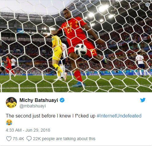他耍蠢卻成世足明星 隊友諷:真心笨世足,世界盃,比利時,巴舒亞伊,Michy Batshuayi,慶祝,打臉巴舒亞伊推特