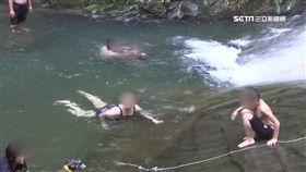 驚險滑水道,苗栗,三角湖,岩壁,滑水道,危險,遊客,告示牌