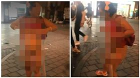 日本大阪一名女子當街掀衣脫褲3點全露(圖/翻攝自推特)