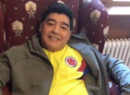 馬拉度納穿哥倫比亞球衣。(圖/摘自網路)