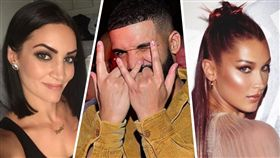 加拿大饒舌歌手德瑞克(Drake)、貝拉哈蒂德(Bella Hadid)、蘇菲布勞克斯(Sophie Brussaux)/IG