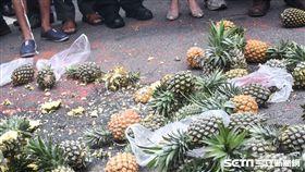 南部五縣市農民北上行政院抗議鳳梨價格崩跌。 (圖/記者林敬旻攝)