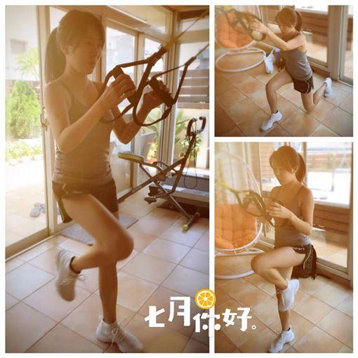 ▲積極健身的佩甄,超短運動褲讓白晢的大腿根意外曝光。(圖/翻攝自臉書)