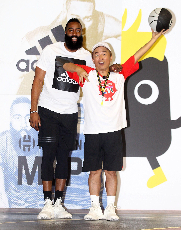 NBA年度最有價值火箭球星「大鬍子」哈登(James Harden)造訪台灣。(記