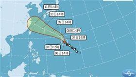 今年第8號颱風「瑪莉亞」下午2時轉為強度颱風。(圖/翻攝自中央氣象局)