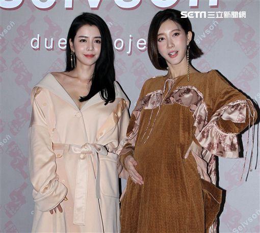 宋米秦找來閨蜜李毓芬出席雙人女裝品牌聯名系列展示會。(記者邱榮吉/攝影)