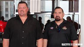 ▲布里斯本俠盜隊總教練大衛尼爾森(David Nilsson)與ABL代理總裁馬克瑞迪(Mark Ready)。(圖/記者王怡翔攝)