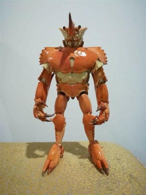 他用蟹殼自製「螃蟹俠」(圖/翻攝自爆廢公社)