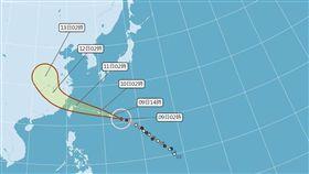 強颱「瑪莉亞」持續向西北西前進,若「瑪莉亞」變「西北颱」,將對台灣北部造成較嚴重的影響,恐怕連中央山脈「護國神山」都扛不住了!(圖/翻攝自氣象局)