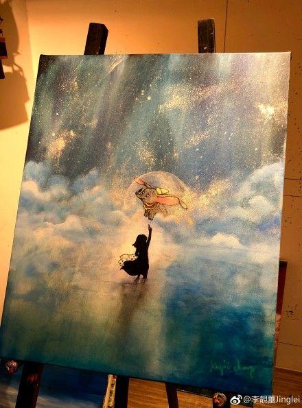 ▲李靚蕾為大女兒生日畫的作品。(圖/翻攝自微博)