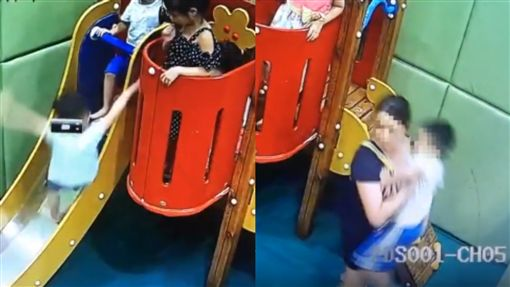 把男童踹下滑梯骨頭斷3截 家長抱屁孩拔腿就跑(圖/翻攝自《新京報》)