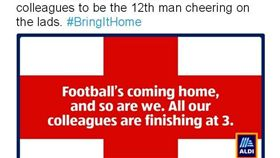 英國量販店ALDI透過推特預告世足決賽將提前打洋。(圖/翻攝自ALDI 推特)