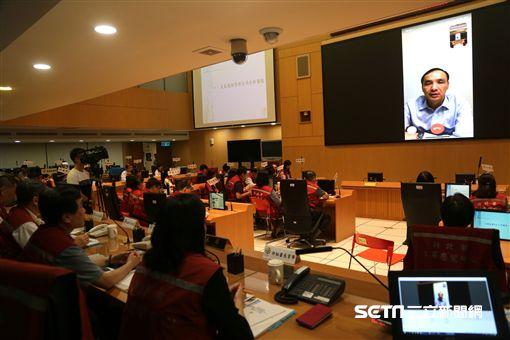 朱立倫視訊開防災會議 新北市府提供
