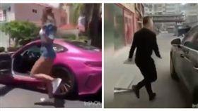 ▲學車子與美女漫步的大叔(圖/翻攝自YouTube)