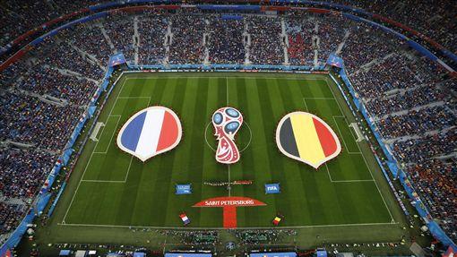 世足準決賽法國對上比利時。(圖/美聯社/達志影像)