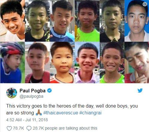 溫暖!法國主將:勝利獻給泰足球少年世足,世界盃,法國,博格巴,Paul Pogba,泰國,受困Pogba推特