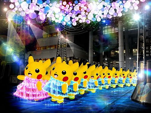 皮卡丘大量發生中,日本橫濱。(圖/翻攝自橫濱旅遊官方微博)
