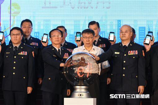 台北市長柯文哲出席巡邏箱電子化系統啟用儀式記者會。 (圖/記者林敬旻攝)