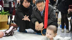 台北市長柯文哲出席台北市公共托嬰增設20迎新春記者會。 圖/記者林敬旻攝