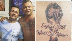 刺青英格蘭世界盃冠軍 鐵粉悲劇了… 世足,世界盃,英格蘭,刺青,紋身,冠軍,Jamie Richardson 翻攝自推特