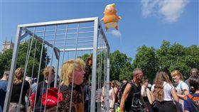 巨嬰川普氣球 飄揚倫敦上空抗議美國總統川普訪英,「川普嬰兒」氣球13日在國會前廣場施放,還有人打扮成川普猩猩,自囚牢中。中央社記者戴雅真倫敦攝 107年7月13日