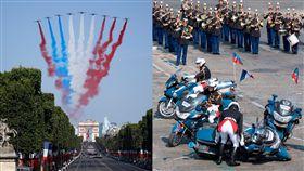 尷尬!法國閱兵慘出包 戰機噴錯國旗顏色、重機對撞(圖/美聯社/達志影像)
