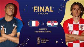 世足冠軍戰法國對上克羅埃西亞。(圖/翻攝自推特)