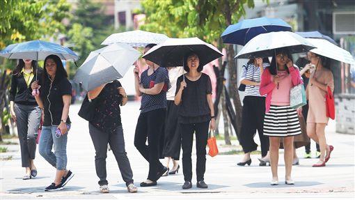 炎熱、大太陽、撐洋傘、防曬、晴天、熱天/中央社