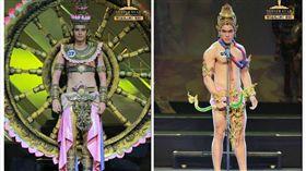 ▲泰國來自不同府的選手,穿著在地特色服飾上台走秀,展現男性選美的魅力。(圖/翻攝自泰國網臉書)