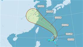 安比颱風預計和台灣擦身而過,週末開始外圍環流影響台灣。(圖/翻攝氣象局)