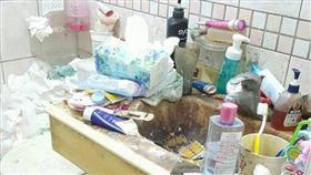 女子家裡廁所髒亂,噁心(圖/翻攝自爆廢公社二館)