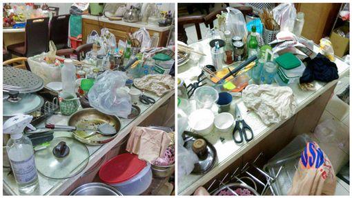 女住戶家的廚房超髒亂、噁心(圖/翻攝自爆廢公社二館)