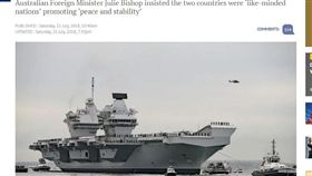 94反制中國!英擬派伊莉莎白號航母 聯手澳洲南海秀肌肉。(圖/翻攝自The Guardian)