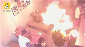 大陸四川一名男子點打火機當場爆炸(圖/翻攝自梨視頻)