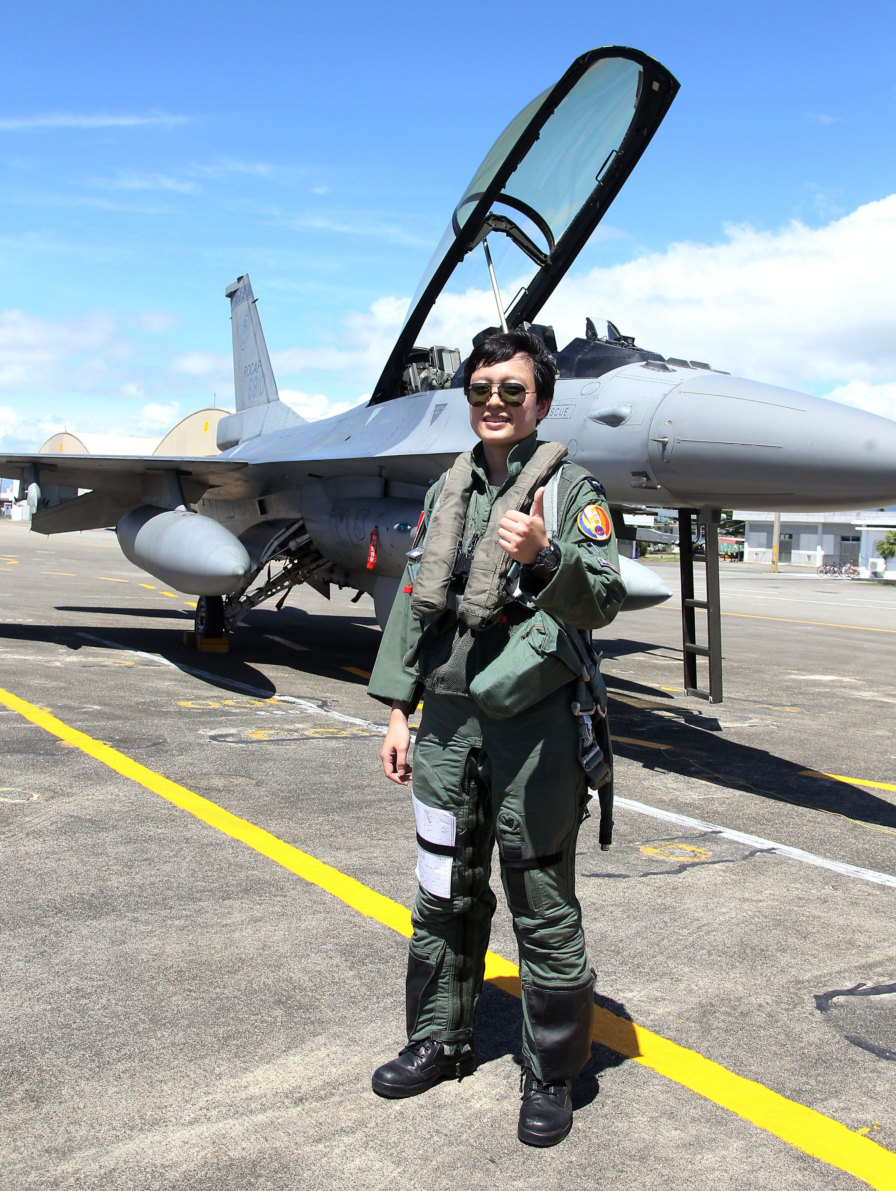 F16戰機女飛官蔣惠宇。(記者邱榮吉/台東拍攝)