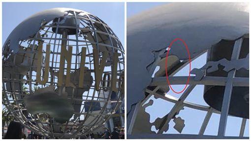 美國好萊塢環球影城地球儀沒有南韓/twitter