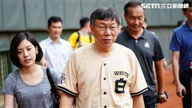 中華職棒明星賽,台北市長柯文哲賽前練投。 (圖/記者林敬旻攝)