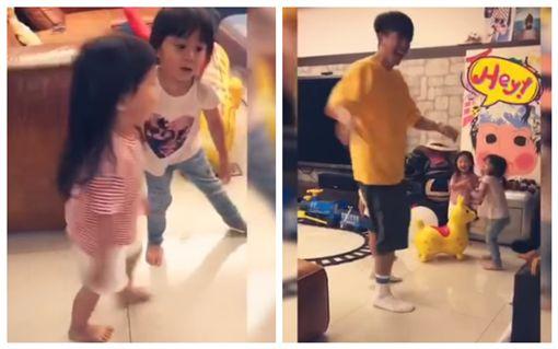 咘咘、JoJo、修杰楷玩木頭人遊戲。Bo妞長高會走路。圖/翻攝自臉書