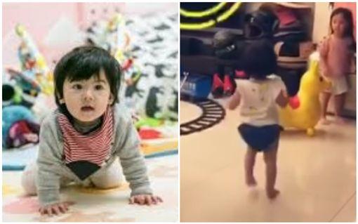 咘咘、JoJo、修杰楷玩木頭人遊戲。Bo妞長高會走路。 圖/翻攝自臉書