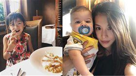 艾莉絲跟外交官老公馬培迪帶兒子威廉弟跟女兒梨梨醬去法國餐廳吃飯。(翻攝臉書)