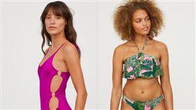 H&M泳裝型錄不修圖,女模秀出身體小瑕疵。(圖/翻攝H&M官網)