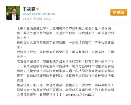 名嘴宋祖德暗指范冰冰預謀假懷孕的新聞來躲避牢獄之災/翻攝自微博