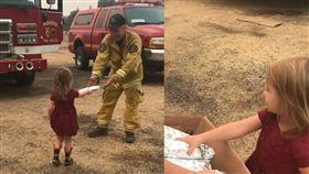 美國2歲女童送愛心早餐給消防員/Chelsey Lutz臉書