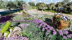 植物混色打造漸層新娘頭紗 花博豐原園區感動呈現/中市府提供