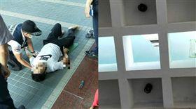 升旗踩破遮光罩…法警3樓高瞬間墜落 圖/翻攝畫面