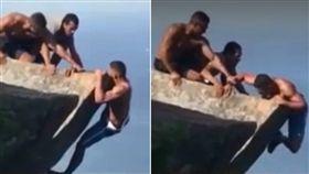 不少人為了拍出美照,總會不惜任何代價搏命演出。巴西里約熱內盧就有一名肌肉男「扶著崖邊」拍照,不料他要上來時體力不支,差點跌落,所幸他的2名朋友出手相救,成功將他拉上,沒釀成意外。(圖/翻攝自PANORAMA)