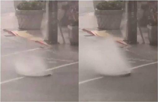 豪雨成災!北投人孔蓋狂噴水 路基流失路面破大洞 圖/翻攝臉書