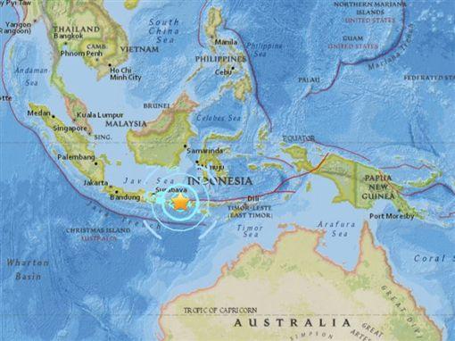 印尼旅遊勝地龍目島遭7.0強震襲擊 死亡人數增至39人(圖取自USGS網頁earthquake.usgs.gov)