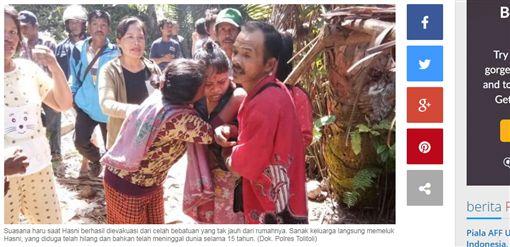 印尼一名巫醫綁架監禁女子長達15年,警方5日救出女子。(圖/擷取自Serambinews網站)
